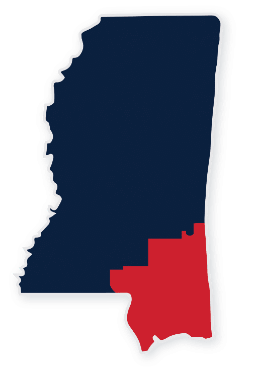 map of mississippi with highlighted southeast district clay wagner is running to represent in congress
